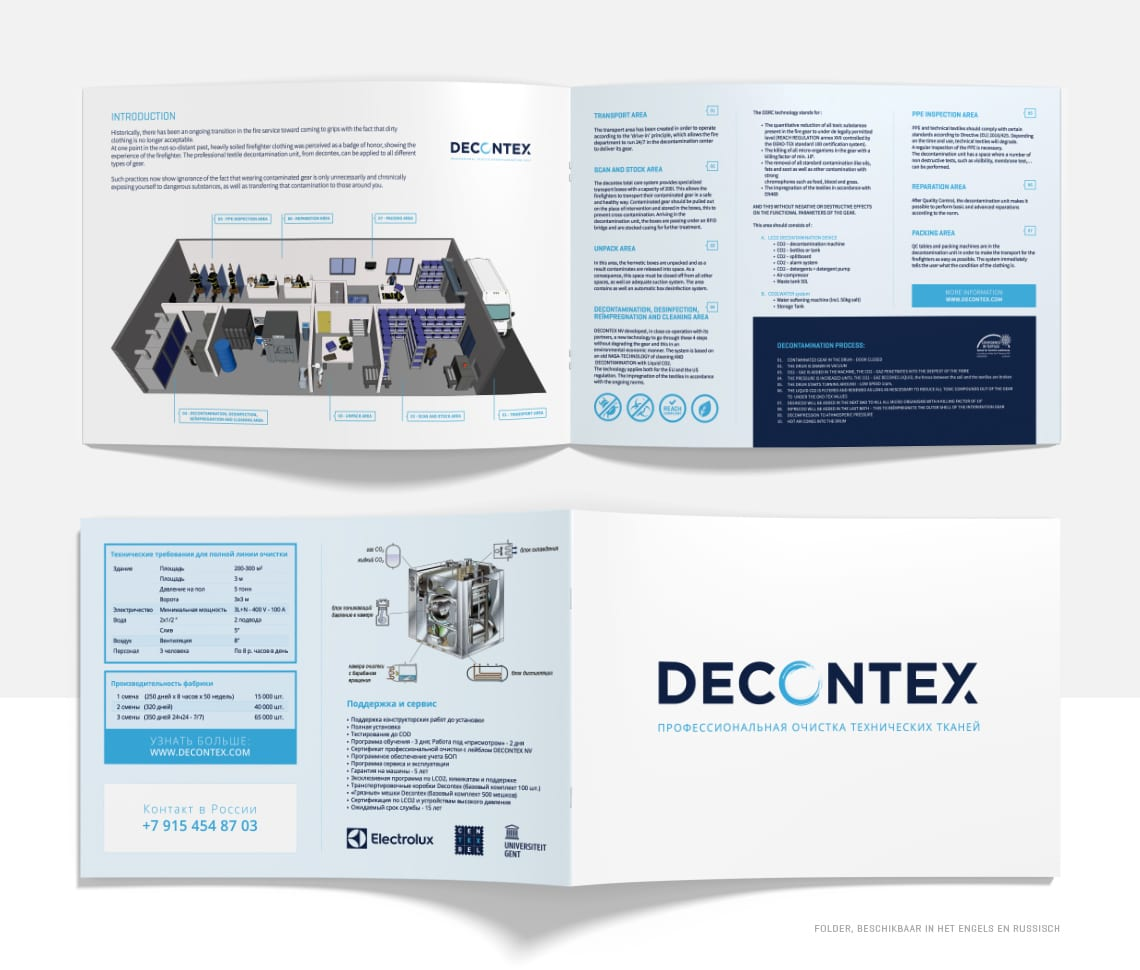 Ontwerp folder Decontex - Nederlands en Russisch